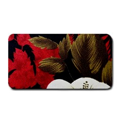 Paradis Tropical Fabric Background In Red And White Flora Medium Bar Mats
