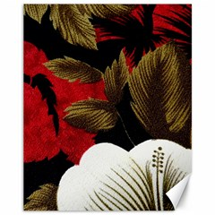 Paradis Tropical Fabric Background In Red And White Flora Canvas 11  x 14