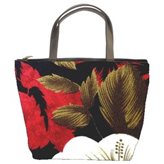 Paradis Tropical Fabric Background In Red And White Flora Bucket Bags