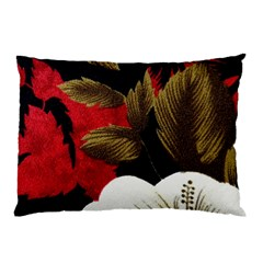 Paradis Tropical Fabric Background In Red And White Flora Pillow Case