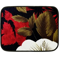 Paradis Tropical Fabric Background In Red And White Flora Double Sided Fleece Blanket (mini)