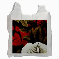 Paradis Tropical Fabric Background In Red And White Flora Recycle Bag (one Side)