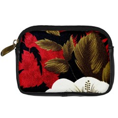 Paradis Tropical Fabric Background In Red And White Flora Digital Camera Cases