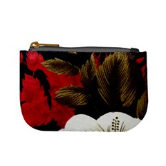 Paradis Tropical Fabric Background In Red And White Flora Mini Coin Purses