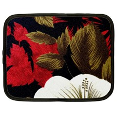 Paradis Tropical Fabric Background In Red And White Flora Netbook Case (XXL)