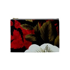 Paradis Tropical Fabric Background In Red And White Flora Cosmetic Bag (Medium)
