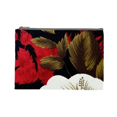 Paradis Tropical Fabric Background In Red And White Flora Cosmetic Bag (large)