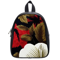 Paradis Tropical Fabric Background In Red And White Flora School Bags (Small)