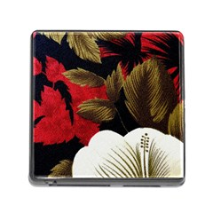 Paradis Tropical Fabric Background In Red And White Flora Memory Card Reader (Square)