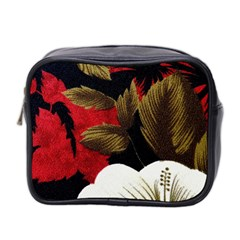 Paradis Tropical Fabric Background In Red And White Flora Mini Toiletries Bag 2-Side