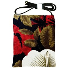 Paradis Tropical Fabric Background In Red And White Flora Shoulder Sling Bags