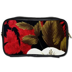 Paradis Tropical Fabric Background In Red And White Flora Toiletries Bags 2 Side