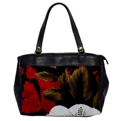 Paradis Tropical Fabric Background In Red And White Flora Office Handbags
