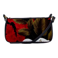 Paradis Tropical Fabric Background In Red And White Flora Shoulder Clutch Bags