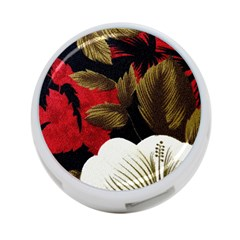 Paradis Tropical Fabric Background In Red And White Flora 4 Port Usb Hub (two Sides)