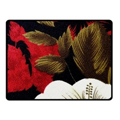 Paradis Tropical Fabric Background In Red And White Flora Fleece Blanket (Small)