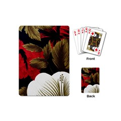 Paradis Tropical Fabric Background In Red And White Flora Playing Cards (Mini)