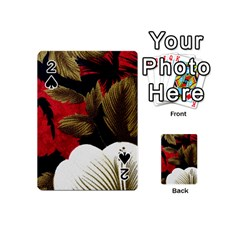 Paradis Tropical Fabric Background In Red And White Flora Playing Cards 54 (Mini)