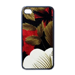 Paradis Tropical Fabric Background In Red And White Flora Apple iPhone 4 Case (Black)