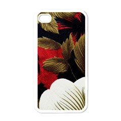 Paradis Tropical Fabric Background In Red And White Flora Apple iPhone 4 Case (White)