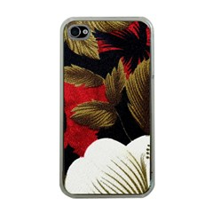 Paradis Tropical Fabric Background In Red And White Flora Apple Iphone 4 Case (clear)
