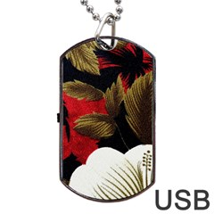 Paradis Tropical Fabric Background In Red And White Flora Dog Tag Usb Flash (two Sides)