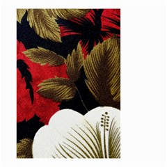 Paradis Tropical Fabric Background In Red And White Flora Small Garden Flag (two Sides)