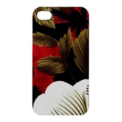 Paradis Tropical Fabric Background In Red And White Flora Apple Iphone 4/4s Premium Hardshell Case