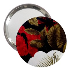 Paradis Tropical Fabric Background In Red And White Flora 3  Handbag Mirrors