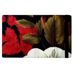 Paradis Tropical Fabric Background In Red And White Flora Apple Ipad 2 Flip Case
