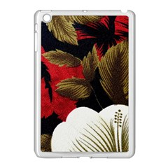 Paradis Tropical Fabric Background In Red And White Flora Apple iPad Mini Case (White)