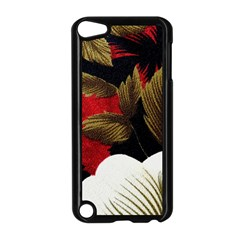 Paradis Tropical Fabric Background In Red And White Flora Apple iPod Touch 5 Case (Black)