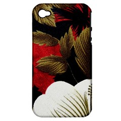 Paradis Tropical Fabric Background In Red And White Flora Apple Iphone 4/4s Hardshell Case (pc+silicone)
