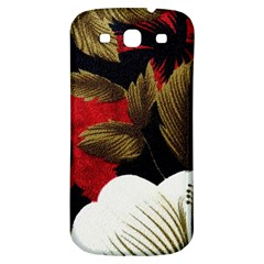 Paradis Tropical Fabric Background In Red And White Flora Samsung Galaxy S3 S Iii Classic Hardshell Back Case