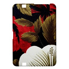 Paradis Tropical Fabric Background In Red And White Flora Kindle Fire Hd 8 9