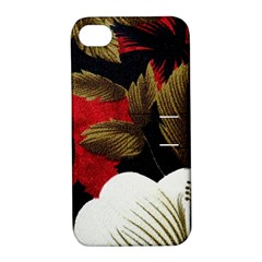 Paradis Tropical Fabric Background In Red And White Flora Apple Iphone 4/4s Hardshell Case With Stand