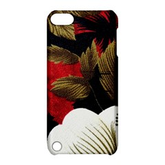 Paradis Tropical Fabric Background In Red And White Flora Apple Ipod Touch 5 Hardshell Case With Stand