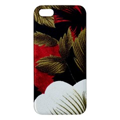 Paradis Tropical Fabric Background In Red And White Flora Apple iPhone 5 Premium Hardshell Case