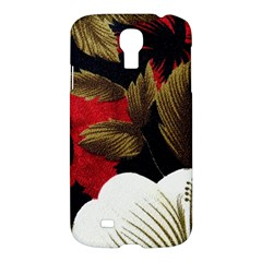 Paradis Tropical Fabric Background In Red And White Flora Samsung Galaxy S4 I9500/i9505 Hardshell Case