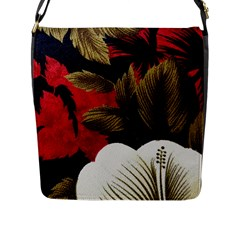Paradis Tropical Fabric Background In Red And White Flora Flap Messenger Bag (l)