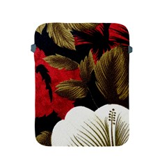 Paradis Tropical Fabric Background In Red And White Flora Apple iPad 2/3/4 Protective Soft Cases
