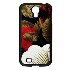 Paradis Tropical Fabric Background In Red And White Flora Samsung Galaxy S4 I9500/ I9505 Case (black)