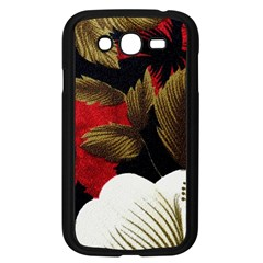 Paradis Tropical Fabric Background In Red And White Flora Samsung Galaxy Grand Duos I9082 Case (black)