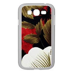 Paradis Tropical Fabric Background In Red And White Flora Samsung Galaxy Grand DUOS I9082 Case (White)