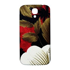 Paradis Tropical Fabric Background In Red And White Flora Samsung Galaxy S4 I9500/I9505  Hardshell Back Case