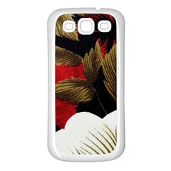 Paradis Tropical Fabric Background In Red And White Flora Samsung Galaxy S3 Back Case (White)