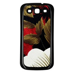Paradis Tropical Fabric Background In Red And White Flora Samsung Galaxy S3 Back Case (Black)
