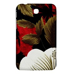 Paradis Tropical Fabric Background In Red And White Flora Samsung Galaxy Tab 3 (7 ) P3200 Hardshell Case