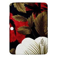 Paradis Tropical Fabric Background In Red And White Flora Samsung Galaxy Tab 3 (10 1 ) P5200 Hardshell Case