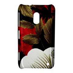 Paradis Tropical Fabric Background In Red And White Flora Nokia Lumia 620